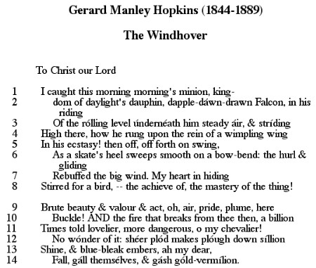 an analysis of windhover by gerard manley hopkins The windhover has 19 ratings and 3 reviews the famous poem the windhover by gerard manley hopkins.