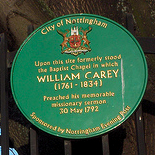Nottingham, Maid Marian Way: William Carey plaque